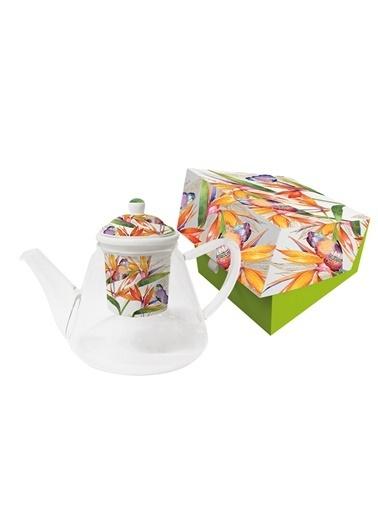 Dünya Style Parrot Flower Süzgeçli Cam Demlik Renkli
